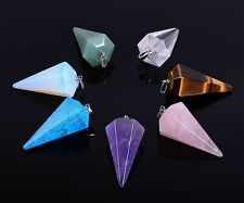 Gemstone crystal healing hexahedron geometric point chakra reiki pendant 35mm