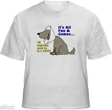 Animal Pet Rescue T-Shirts - It's All Fun And Games- New - White - Ash Grey