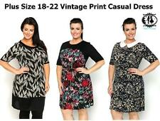 LADIES PLUS SIZE 18-22 VINTAGE PRINT SHIFT DRESS TUNIC TOP BLOUSE SKATER SUMMER