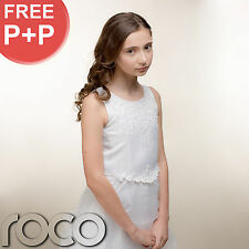 Girls White Traditional First Holy Communion Dress with Embroidered Organza