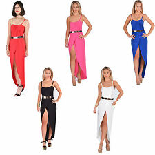 Women Ladies Belted Asymettric Wrap Over Dip Hem Strappy Party Maxi Dress 8-14