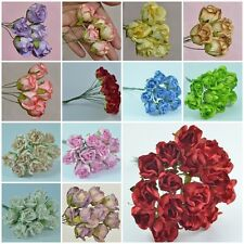 50 PIECES MULBERRY PAPER ROSEBUD ROSE HEAD FLOWERS DIA. 2 cm/ 0.8 inch CRAFT NEW