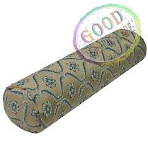 hh01g Antique Blue Damask Flower Light Khaki Nude  Bolster Neck Roll Case Cover
