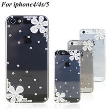 New Crystal Flower Transparent HARD Cases Covers Skin For APPLE iPhone 4 4S 5 5S