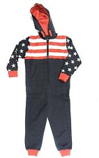 Ex River Island Boys Navy Red White Stars Stripes USA Hooded All-in-One Onesie!