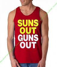 Neon SUNS OUT GUNS OUT Red Tank Top Funny rave muscle gym workout bodybuilding