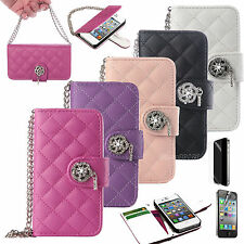 Bling Diamond Magnetic Flip Wallet Leather Hard Case Cover For Apple iPhone 4 4S