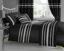 Black Satin Diamante Duvet Cover 4 sizes Bed Set or Throw or Cushion or Curtains