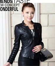 2014 Fall women zipper Leather coat motorcycle leather clothing outerwear jacket