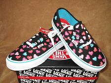 NEW VANS AUTHENTIC CANDY HEARTS SHOE BLACK/MULTI KID'S GIRLS SZ 10.5, 11