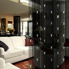 Romantic Decorative Door Window Panel Room Divider String Curtain With 3 Beads