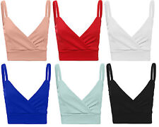 Womens Ladies Cami Strappy Sleeveless Cropped Wrapped Bralet Top Size UK 8-14