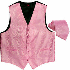 Pink XS to 6XL Paisley Tuxedo Suit Dress Vest Waistcoat & Neck tie Wedding Prom