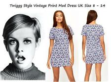 LADIES VINTAGE TWIGGY MOD DRESS NAVAJO PRINT MINI TUNIC TOP BLOUSE SHIFT SKATER