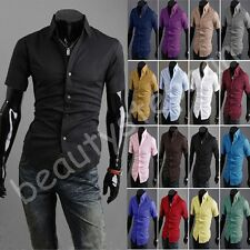 New Fashion Men 16 Colors Pick Short Sleeve Casual Slim Polo Collar Dress Shirts