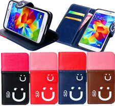Hybrid Flip smile Wallet card slot PU Leather Stand Case Cover Skin for phones