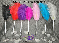 OSTRICH FEATHER PLUME PEN SET WEDDING RECEPTION PEN SET WITH METAL BASE