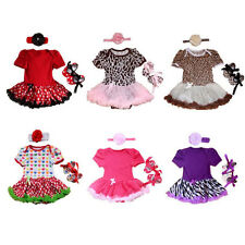 3pcs Newborn Infant Baby Girl Headband+Romper+Shoes Outfits Clothing 0-9 Months