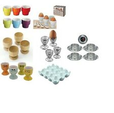 SET OF 4, 6, 8 EGG CUPS WOODEN PORCELAIN STAINLESS STEEL EGG TRAYFUNNY FACE HOLD
