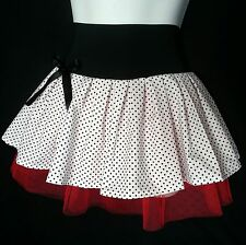 Black, White, Red polka spot tutu skirt. 50's. Rockabilly Dance 6-8-10-12-14-16