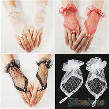 Beautiful Wrist Fingerless Dress Evening Party Bridal Wedding Funky Short Gloves