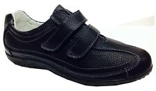 New Womens Ladies Black Shoes Extra Wide EEE Fit Velcro Genuine Leather Casual