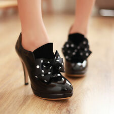 Womens Sexy Ankle Bootie Ribbon Bowknot High Heels Stiletto Party Dress Shoes