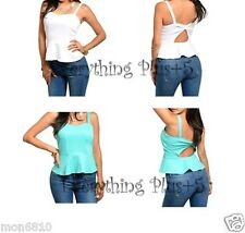Fashion Women Casual Cut-Out Back Solid Peplum Top S M L