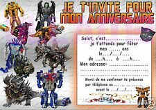 10 CARTES INVITATION ANNIVERSAIRE TRANSFORMERS -