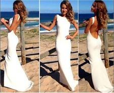 Celeb white open back long maxi prom bodycon dress cocktail evening party outfit