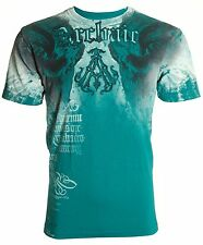 Archaic AFFLICTION Mens T-Shirt NIGHTWATCHER Skulls Tattoo Biker UFC M-4XL $40 d