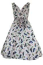 LADIES RETRO 50'S ROCKABILLY VINTAGE SWING DRESS - VANILLA CREAM BIRD