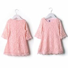 Cute Kids Child Girls Princess Dress Clothing Floral Flower Lace Party Skirt