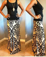 MAXI SKIRT SEXY BANDED BAROQUE DAMASK IKAT CHIC FLORAL BOHO SM MED LG PLUS SIZE