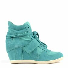 Ash Bowie Peacock Suede and Canvas Wedge Hi-Top Trainer RRP £149