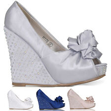 WOMENS LADIES PLATFORM HIGH HEEL WEDGE PEEP TOE EVENING PROM SHOES SIZE 3-8