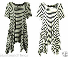 MARINA KANEVA Womens Ladies Striped Pocket Casual Tunic Dress Top Plus Sizes