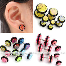 Pair Spot Colorful Barbell Fake Cheater Illusion 18G Look 6G Ear Plugs Earrings