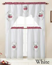 3 Piece Kitchen Window Curtain Set with Embroidered Apple Doily Design