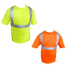ANSI Class II Reflective Safety Lime Orange Short Sleeve T-Shirt HIGH VISIBILITY