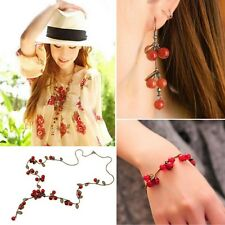 Chic Sweet Cherry Red Beads Leaf Necklace/Bracelet/Earring Long Sweater Chain HG