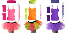 Womens Neon Bright Rave 80's Fancy Dress Sets Tutu Vest Top Wrist Head Band