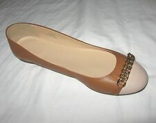 J.Crew Nora Leather Chain Cap Toe Ballet  Flats Color:Brown Retail:$150+Tax