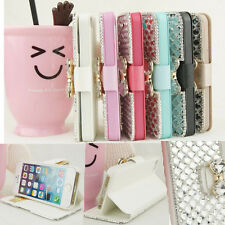 6Colors Rhineston 3D Bling Bow Knot Bowknot Leather Flip Wallet Phone Case Cover