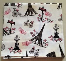 Free Shipping by the yard Eiffel Tower printed 100% Cotton Plain Fabric 43.3""