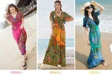 Fashion Sexy 1960s 1970s Paisley Print Hippie Bohemian Women lace Beach Dresses