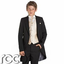 Boys Black & Gold Tail Suit , Wedding Suits, Page Boy Suits, Slim Fit Suits