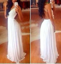 Sexy white lace backless maxi prom dress evening night party celebrity cocktail