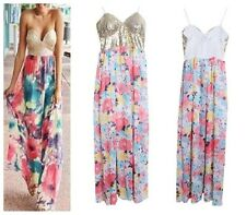 Summer Beach Party Dress Lady Boho Contrast Sequin Strapless Flower Maxi dress S