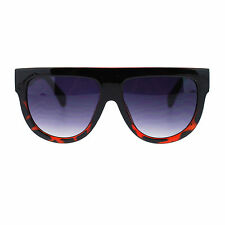 Womens Flat Top Thick Plastic Oversize Boyfriend Fit Mobster Nerd Sunglasses
